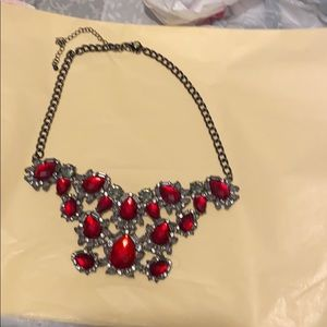torrid Jewelry - Pewter color red rhinestones adjustable necklace